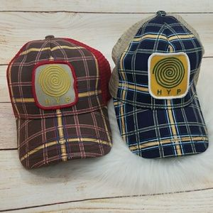 NWT HYP plaid trucker snap back hats you get both